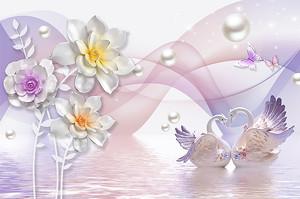 Лебеди цветы и жемчуг