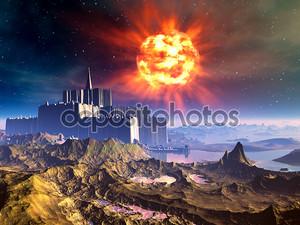 Чужеродные замок-крепость взрывающаяся солнцем