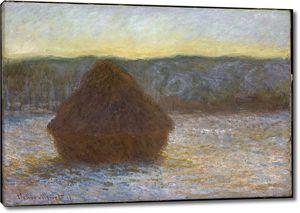 Моне Клод. Стог сена, Оттепель, Закат, 1891
