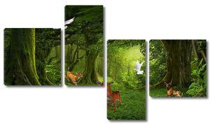 Голуби и олени в сказочном лесу