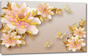 Цветы и бабочки в золоте