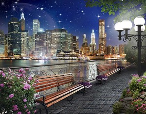 Прогулка вдоль набережной по ночному городу