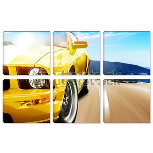 Желтый спортивный автомобиль на дороге