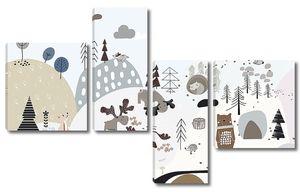 Аппликационный лес с животными