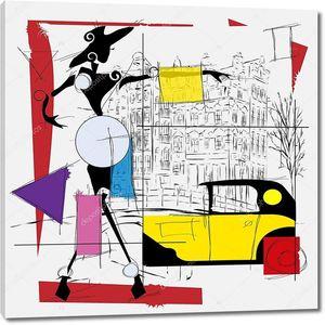 Кубическая иллюстрация современной модной девушки