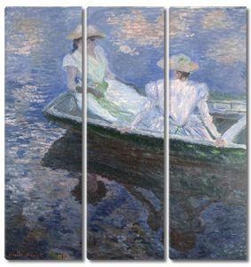 Моне Клод. Девушки в лодке, 1887