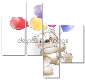 Забавный Мишка поставляется с цветные шары