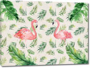 Растительный узор с фламинго