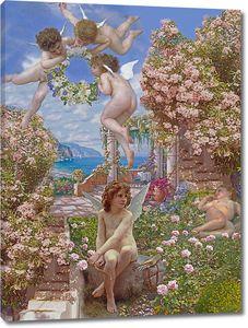 Цветочный сад с ангелами
