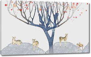 Нарисованные олени под деревом