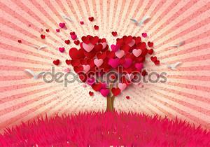 Любовное дерево с сердечными листьями.