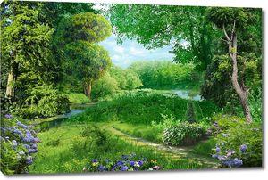 Тропинка и речка в лесу