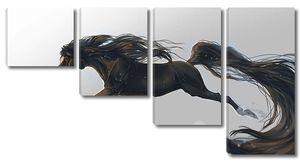 Конь с черной гривой и хвостом