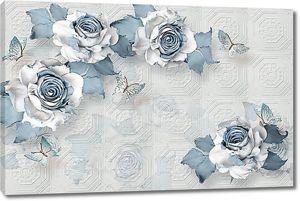 Розы с синими листьями