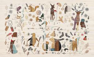 Животные с зимними предметами