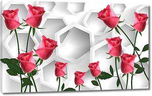 Розы на фоне хаотичных сот