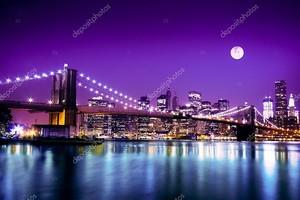 Нью-Йорк Бруклинский мост и горизонт