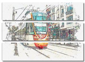 Акварельный рисунок или иллюстрация традиционного трамвая или наземного поезда в Стамбуле