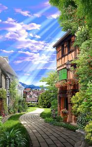 Солнечные лучи на дорожку среди домов