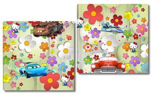 Машинки на фоне цветочной абстракции