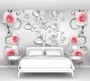 Розовые розы с стереоскопическими бабочками