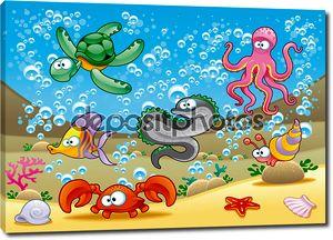 Семейство морских животных в море.