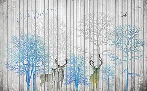 Олени и деревья на заборе