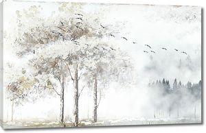 Дерево на краю туманного леса