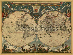 Древняя карта полушарий