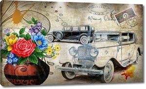 Конверт с ретро автомобилями
