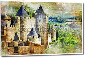 средневековый замок Каркасон, Франция, artisric картина