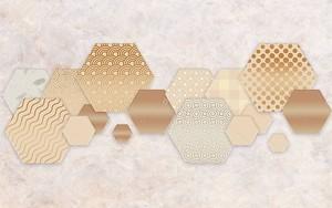Мозаика из  шестиугольников разных размеров и текстур