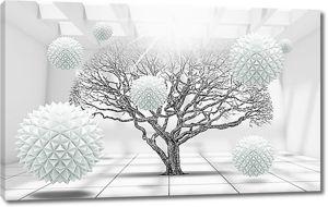 Дерево с колючими шарами