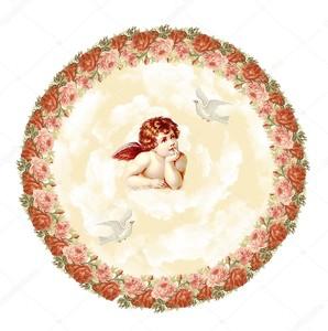 Ангел с голубями в цветочной рамке