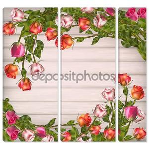 Поздравительная открытка с розами. eps 10