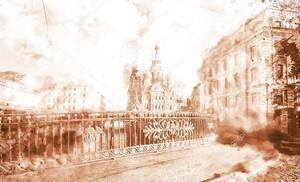 Город в монохромной акварели