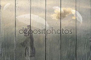 пара в любви под зонтик, текстур бумаги, Винтаж, романтика, мужчина и женщина в любви