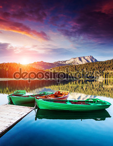 Boats on Black lake in Durmitor national park