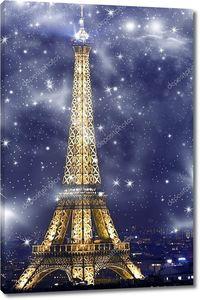 Вид Эйфелеву башню в ночное время