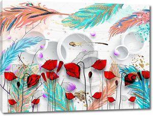 Большие цветные перья, красные маки на переднем плане