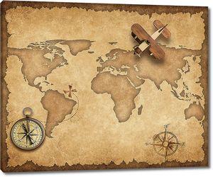 Винтажная карта с моделью самолетика