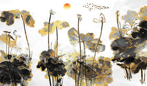 Цветы. Черное с золотом