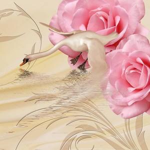 Бежевый сплошной фон с лебедем и две большие розовые розы