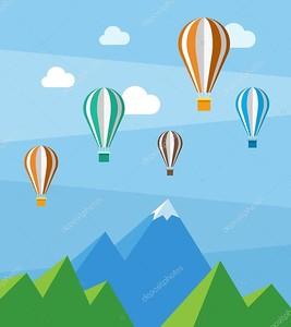 вектор равнинный характер сцены с горы и воздушные шары
