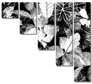 Абстрактный бесшовный паттерн с листьями и цветами