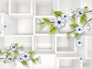 Белые цветы на ветвях с зелеными листьями
