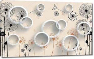 Контуры одуванчиков с летающими семенами