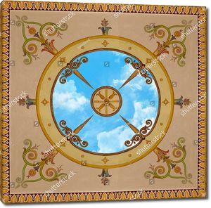Классический нарисованный узор с небом в центре