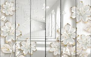 Белый туннель с цветами