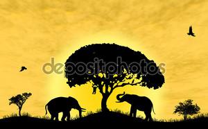 Сафари в Африке. Силуэт диких животных отражения в воде